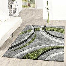 Teppich Wohnzimmer Gestreift Modern mit Konturenschnitt in Grün Grau Schwarz , Größe:120x170 cm