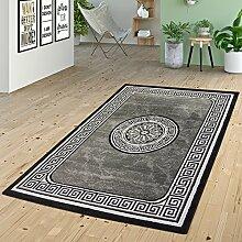 Teppich Wohnzimmer Glitzer Garn Modern Bordüre Versace Design In Anthrazit Grau , Größe:80x150 cm