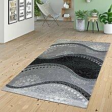 Teppich Wohnzimmer Glitzer Garn Modern Wellen Muster Ornamente In Grau Anthrazit, Größe:80x300 cm