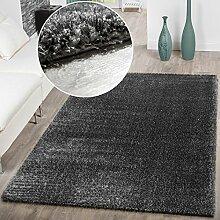 Teppich Wohnzimmer Hochflor Teppiche Modern Elegant Weich Schimmer In Uni Grau, Größe:240x340 cm