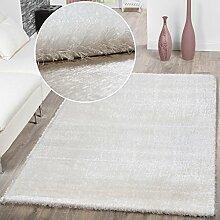 Teppich Wohnzimmer Hochflor Teppiche Modern Elegant Weich Schimmer In Uni Weiß, Größe:80x150 cm