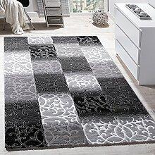 Teppich Wohnzimmer Kariert Abstrakt Ornament Design Meliert Grau Creme Anthrazit, Grösse:120x170 cm