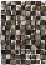 Teppich Wohnzimmer Lederteppich Carpet modernes Design RUG Lavish 410 Grau 100% Leder 80x150cm | Teppiche günstig online kaufen