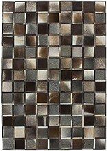 Teppich Wohnzimmer Lederteppich Carpet modernes Design RUG Lavish 410 Grau 100% Leder 160x230cm | Teppiche günstig online kaufen