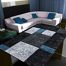 Teppich Wohnzimmer modern Carpet geometrisches Design HAWAII STONE RUG 120x170 cm TURKIS | Teppiche günstig online kaufen