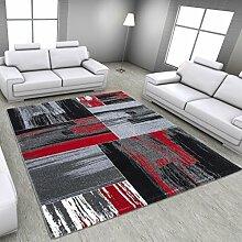 Teppich Wohnzimmer modern Carpet geometrisches Design LIMA GRAPHIC RUG 200x290 cm RED | Teppiche günstig online kaufen