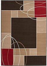 Teppich Wohnzimmer modern Carpet geometrisches Design RUG Funky 1954 Kaffee 80x150cm | Teppiche günstig online kaufen