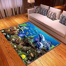 Teppich Wohnzimmer,Moderner Kunstdruck Ozean Thema