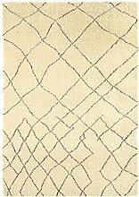 Teppich Wohnzimmer Orient Carpet Design AMIRA MOROC CAN RUG 100% Wolle 120x170 cm Rechteckig Schwarz | Teppiche günstig online kaufen