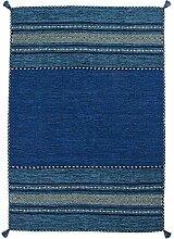 Teppich Wohnzimmer Orient Carpet klassisches Design RUG Alhambra 335 Blau 100% Baumwolle 160x230cm | Teppiche günstig online kaufen