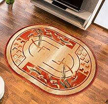 Teppich Wohnzimmer Oval in Beige - Kurzflor Muster Antik Natur - Royal Kollektion Qualität 60 x 100 cm