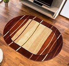 Teppich Wohnzimmer Oval in Braun- Kurzflor Muster Streifen Wellen - Royal Kollektion Qualität 110 x 195 cm