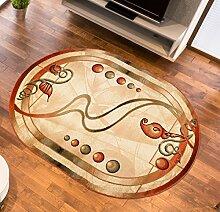 Teppich Wohnzimmer Oval in Creme- Kurzflor Muster Natur Blumen Streifen - Royal Kollektion Qualität 160 x 220 cm