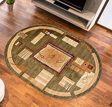 Teppich Wohnzimmer Oval in Grün - Kurzflor Muster Natur Vierecken - Royal Kollektion Qualität 70 x 140 cm