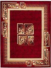 Teppich Wohnzimmer Rot mit Klassisch Blumen