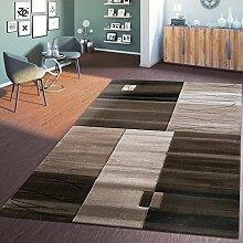 Teppich Wohnzimmer Toscana Kariert Braun Beige Meliert mit Konturenschnitt, Größe:240x340 cm