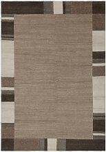 Teppich Wolle Modern Bordüren Design Kasten Beige