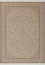 Teppich Yemen - Tarim Beige 200cm x 290cm Flachgewebe-Teppich mit Fransen aus Polyester, weiche Haptik und Anti-Rutsch-Beschichtung auf der Rückseite