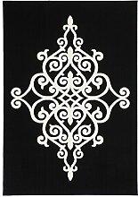 Teppiche Flachflor Klassisch Oriental Ornament Teppich Schwarz NEU Angebot , Größe:80cm x 150cm