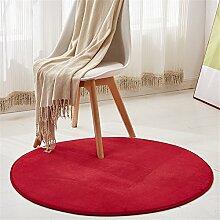 Teppiche, JeogYong Runde Künstliche Korallen Samt Teppich für Wohnzimmer, Badezimmer und Schlafzimmer (Rot, 120cm)
