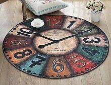 Teppiche Nordic Creative Retro Wanduhr Runde Teppich / Schlafzimmer Wohnzimmer Computer Stuhl Teppiche (Größe optional) Bereich Teppiche ( größe : 60 )