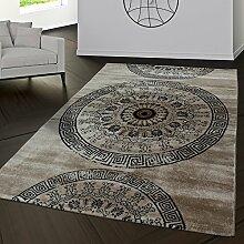 Teppiche Palermo Klassiches Design Wohnzimmer Teppich Braun Beige Meliert, Größe:160x230 cm