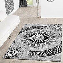 Teppiche Palermo Klassiches Design Wohnzimmer Teppich Grau Schwarz Meliert, Größe:240x340 cm