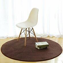 Teppiche Teppich Einfache Moderne Schlafzimmer Nachttisch Computer Stuhl Runde Wohnzimmer Couchtisch Teppiche Krabbeln 80 Cm, 60 Cm, ( Farbe : Braun , größe : 60cm )