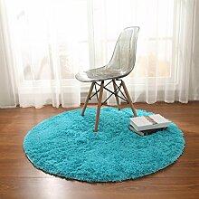 Teppiche Teppich Schlafzimmer Wohnzimmer Mode Europäischen Runden Korb Decke Computer Stuhl Gepolstert 120cm ( Farbe : Blau )
