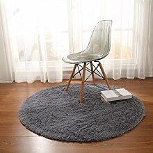 Teppiche Teppich Stilvolle Europäischen Stil Runden Schlafzimmer Wohnzimmer Hängen Korb Decke Computer Stuhl Kissen Yoga Gepolstert 100cm ( Farbe : Grau )