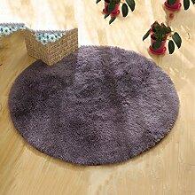 Teppiche Teppich Teppich Runde Wohnzimmer Computer Stuhl Verdicken Schlafzimmer Couchtisch Hängekorb Teppich 100 Cm ( Farbe : Dunkelgrau )