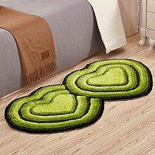 Teppiche Teppich Wohnzimmer Schlafzimmer Bedside Vorderes Kissen Heart-shaped European 70 × 140cm ( Farbe : Grün )