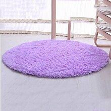 Teppiche Teppiche Teppich Dicker Schlafzimmer Runde Wohnzimmer Couchtisch Hängekorb Computer Stuhl Grau Lila Pink 80 cm, 100 cm, 120 cm ( Farbe : Lila , größe : 120cm )