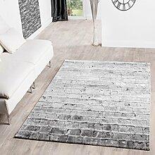 Teppiche Torino Stone Optik Beige Wohnzimmer Teppich Grau Meliert, Größe:80x300 cm