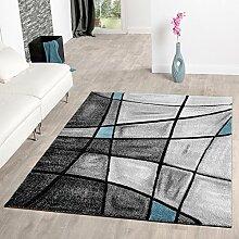 Teppiche Wohnzimmer Teppich Porto Konturenschnitt Türkis Grau Schwarz AUSVERKAUF, Größe:160x230 cm