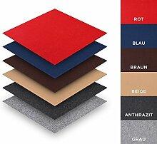 Teppichfliesen Nadelfilz selbstklebend Sparpaket (25 Fliesen = 4 m²), Farbe: Grau, Variante: 40 x 40 cm