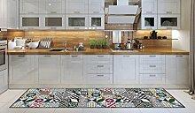 Teppichläufer/ Küchenläufer/ maschinenwaschbar, Küchenteppich/ Läufer, 52cm x 240cm, anti-milben und rutschfest,teppich küchenläufer geometrisch muster,100% Made in Italy,teppich mit digitaldruck.