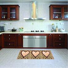 Teppichläufer/Küchenläufer/ maschinenwaschbar, Küchenteppich, Läufer, 52x140cm, anti-milben und rutschfest, teppich, küchenläufer herzen muster, 100% Made in Italy, Teppichläufer, mit digitaldruck