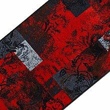 Teppichläufer mit modernem Design in brillianten Farben   hochwertige Meterware, gekettelt   Kurzflor Teppich Läufer   Küchenläufer, Flurläufer (80x600 cm)