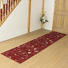 Teppichläufer, Rot, mit Schnörkeln, für Flur,
