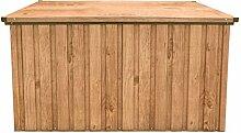 Tepro Metall-Gerätebox Kissen-Box Garten-Schrank 590 Liter Gartentruhe in Holz-Optik Eiche