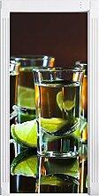 Tequila mit Limetten als Türtapete, Format: 200x90cm, Türbild, Türaufkleber, Tür Deko, Türsticker