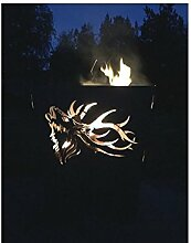 Terma Stahldesign Feuerkorb rostig Motiv Hirsch