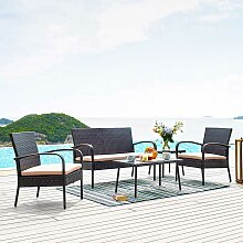 Terrassen Sitzgruppe in Braun Kunstrattan Bank