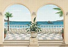 Terrassen - Terrasse Provenzalisch 8-teilig Fototapete Poster-Tapete (368 x 254cm)