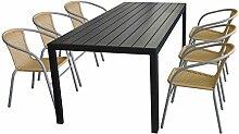Terrassenmöbel Set Aluminium-Tisch 205x90cm mit Polywood-Tischplatte in Schwarz + 6x stapelbare Bistrostühle mit Rattanbespannung in Beige