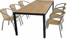 Terrassenmöbel Set Aluminium-Tisch 205x90cm mit Polywood-Tischplatte in Braun + 6x stapelbare Bistrostühle mit Rattanbespannung in Beige