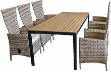 Terrassenmöbel Set mit großen Polywood-Gartentisch 205x90cm inklusive 6x verstellbare Rattansessel mit Polyrattannespannung in Nature