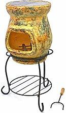 Terrassenofen Gartenkamin Terracotta 80 cm Gartenofen Stahlgestell Grillrost 30 cm mit Feuerhaken 20x15 cm Öffnung robust wetterfes