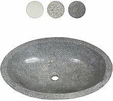 Terrazzo Waschbecken Handwaschbecken Aufsatz-Waschbecken Spülstein Natursteinwaschbecken Gäste Bad ca. 60 cm Stein Oval Dunkelgrau T3